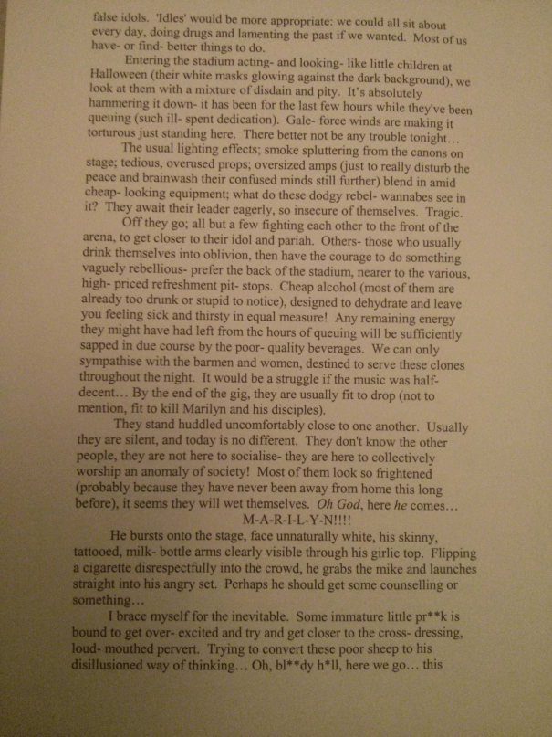 An image of the third marked page of Chris Larham's descriptive writing essay and commentary ['A*'-grading, 2000/2001].
