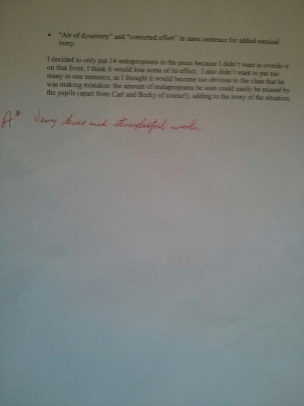 An image of the third marked page of Chris Larham's essay on idiomatic malapropisms and irony ['A*'-grading, 2000/2001].