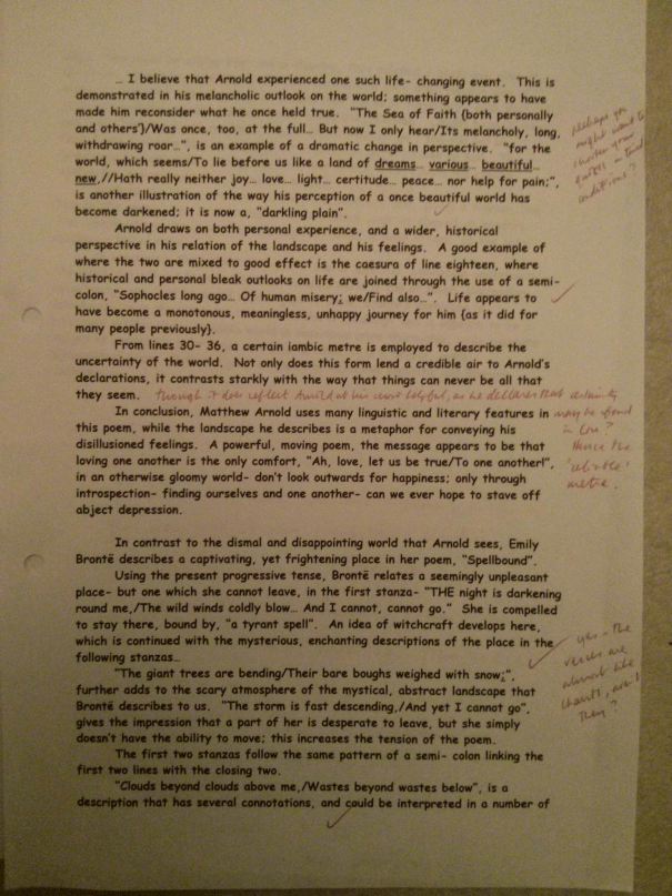 Image of the third marked page of Chris Larham's essay on 'Kubla Kahn', 'Dover Beach', and 'Spellbound' (22 out of 25, 2000/2001).
