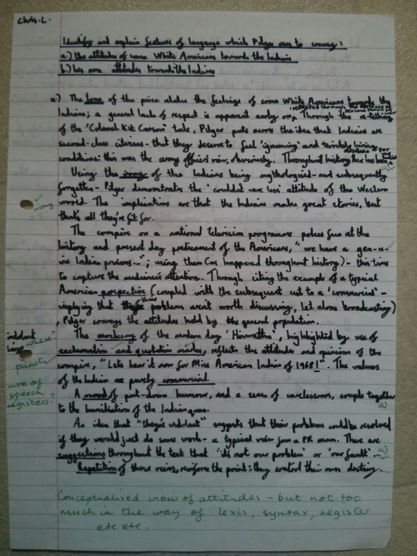 Image of the first marked page of Chris Larham's linguistic analysis of an excerpt from John Pilger's 'Heroes' [ungraded, 2000/2001].