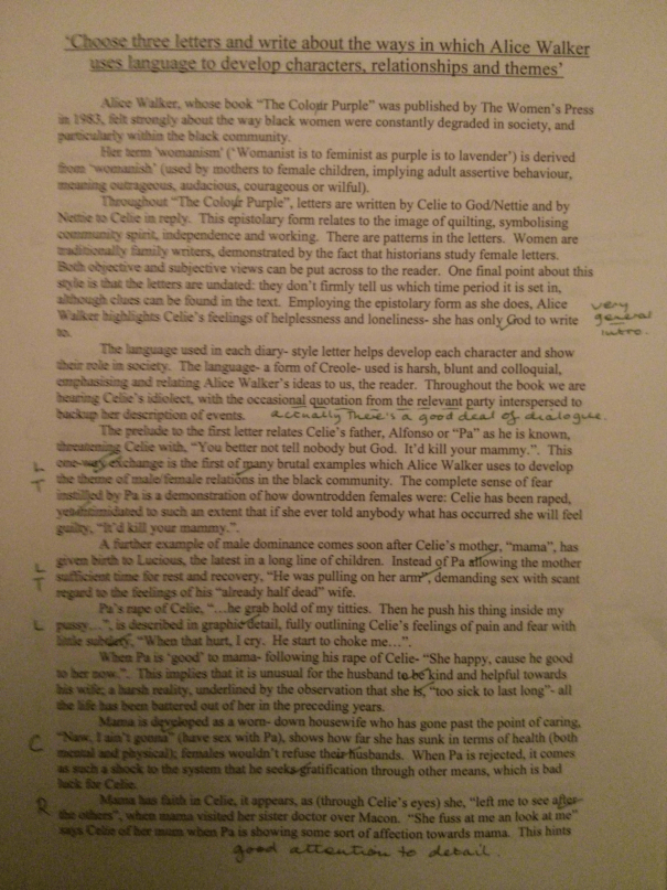 Image of the first marked page of Chris Larham's essay on 'The Color Purple' ('B++' grading, 2000/2001).