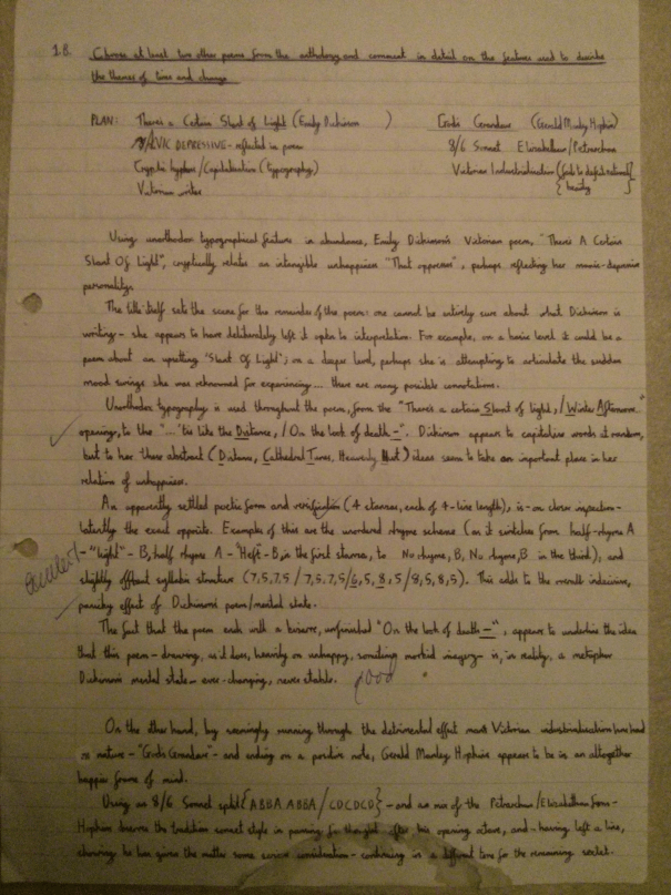 Image of the first marked page of Chris Larham's essay on 'There's a Certain Slant of Light' and 'God's Grandeur' [25 out of 25, 2000/2001].
