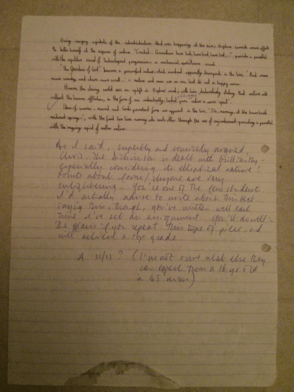 Image of the second marked page of Chris Larham's essay on 'There's a Certain Slant of Light' and 'God's Grandeur' [25 out of 25, 2000/2001].