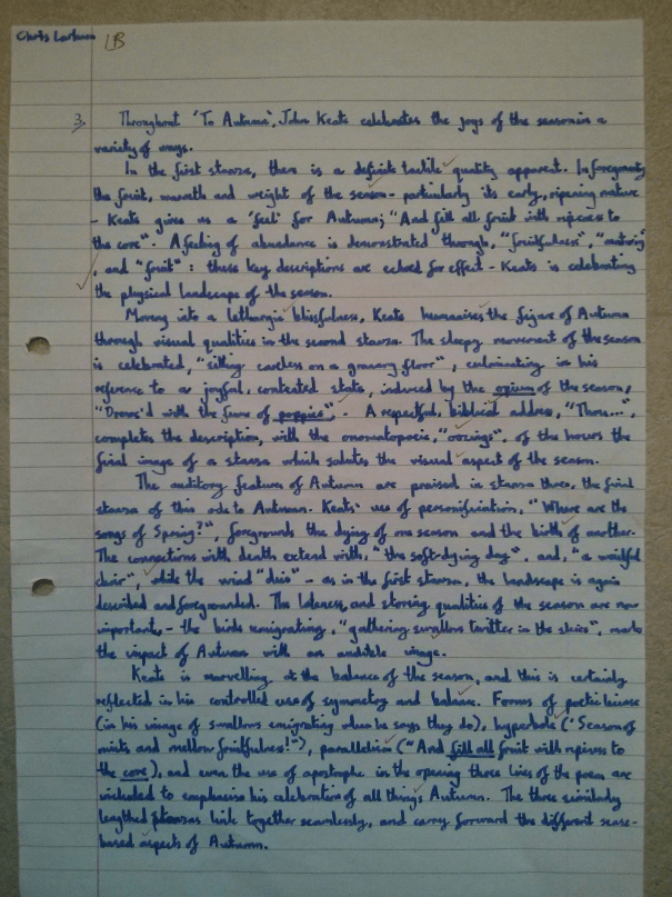Image of the first marked page of Chris Larham's essay on 'To Autumn' and the 'Cuckoo Song' ('B' grading, 2000/2001).