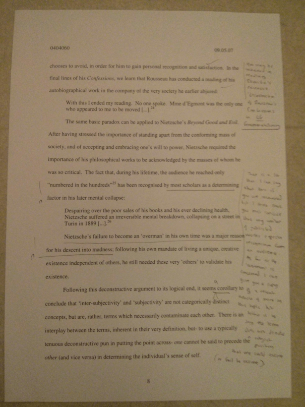 Image of the eighth marked page of Chris Larham's essay discussing Anthony Giddens' quotation on the nature of subjectivity [64%, 2007].