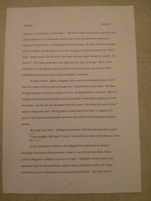 Image of the second marked page of Chris Larham's essay discussing Anthony Giddens' quotation on the nature of subjectivity [64%, 2007].