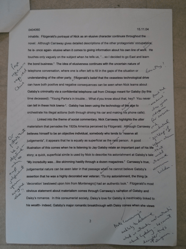 An image of the second page of Chris Larham's essay analysing the narrator and the narrative techniques in F. Scott Fitzgerald's 'The Great Gatsby' [69%, 2004].