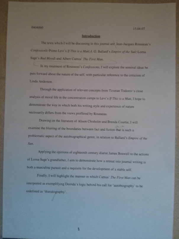 Image of the first page of Chris Larham's journal [65%, 2007] submitted as part of the 'Writing Selves: Understanding Autobiography' module.