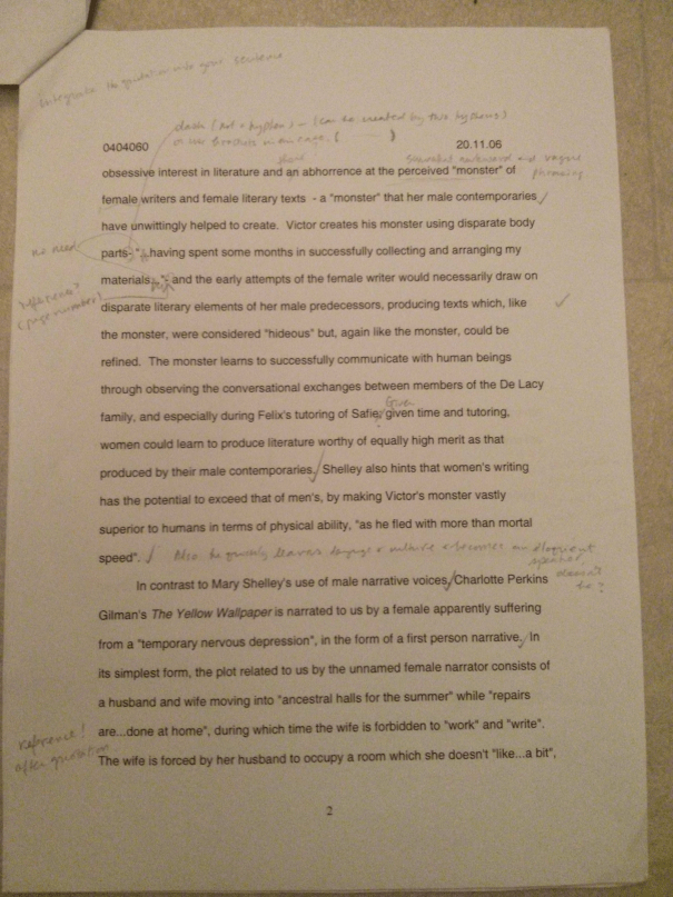 An image of the second marked page of Chris Larham's essay examining whether or not there are distinct characteristics in women's writing [70%, 2006].