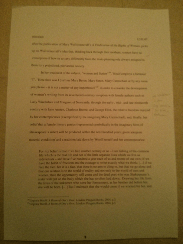 Image of the eighth marked page of Chris Larham's essay discussing the representation of women's experience within the patriarchal scheme of things [68%, 2007].
