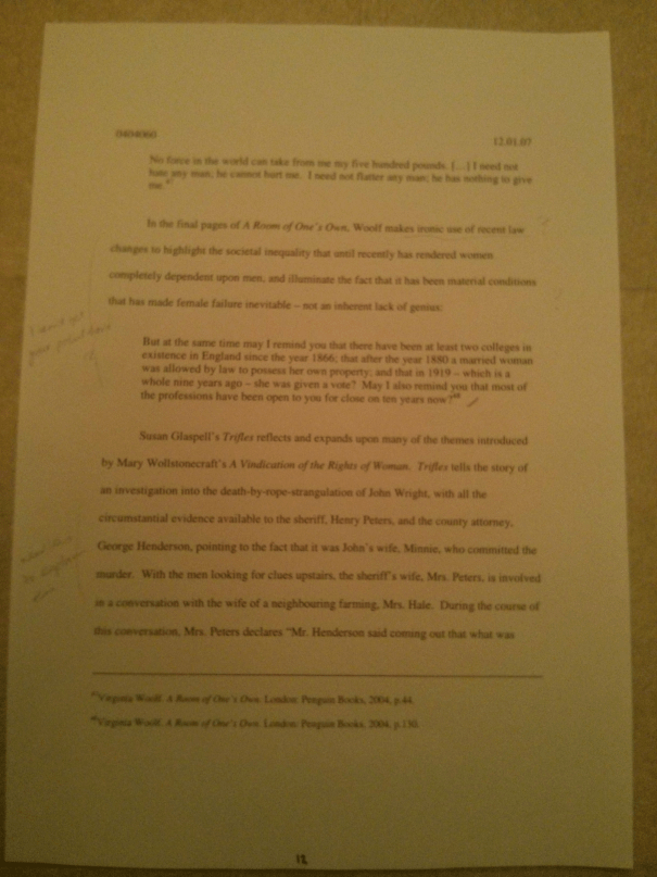 Image of the twelfth marked page of Chris Larham's essay discussing the representation of women's experience within the patriarchal scheme of things [68%, 2007].