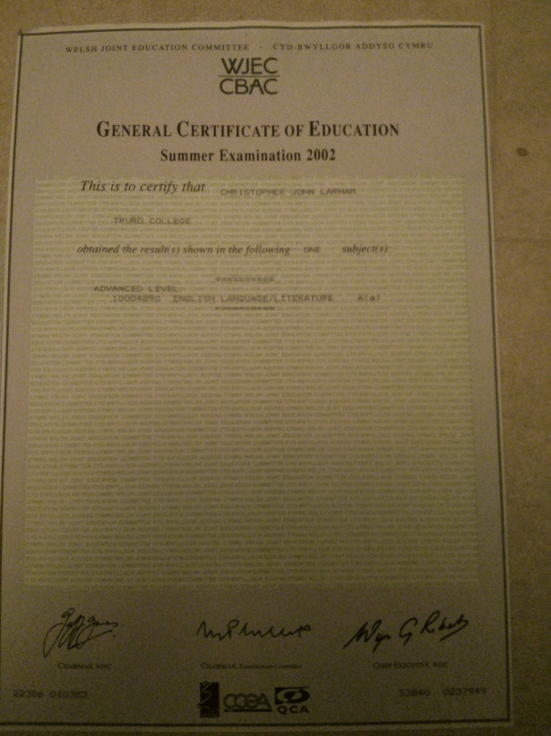 An image of Chris Larham's 'A'-grade English A Level certificate [2002].