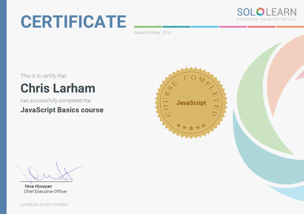Image of Chris Larham's certificate of completion for SoloLearn's 'JavaScript Basics' course [2016].