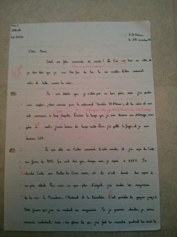 An image of the first marked page of Chris Larham's piece of French A Level creative writing [35 out of 45, 2001/2002].