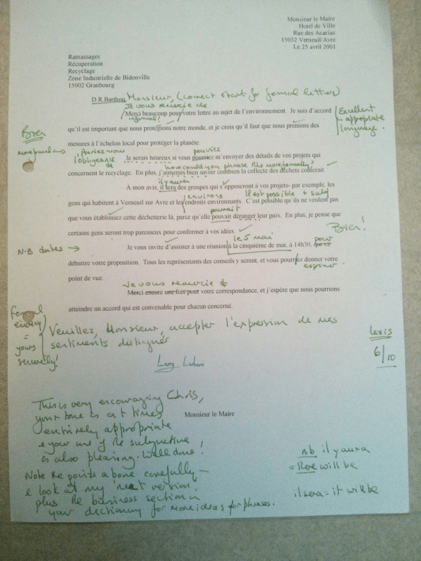 Image of Chris Larham's piece of French A Level creative writing [6 out of 10, 2001/2002].