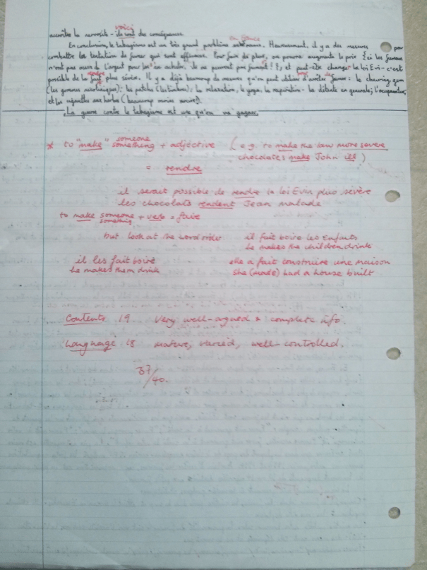 An image of the second handwritten page of Chris Larham's oral presentation on the subject of smoking in France [37 out of 40, 2000/2001].