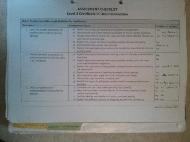 An image of the first page of the Assessment Checklist pertaining to BTEC Unit Four [2015].
