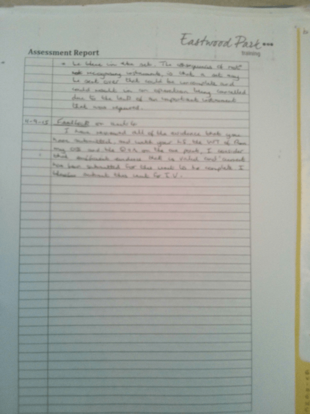 An image of the third page of the Assessment Report pertaining to BTEC Unit Four [2015].