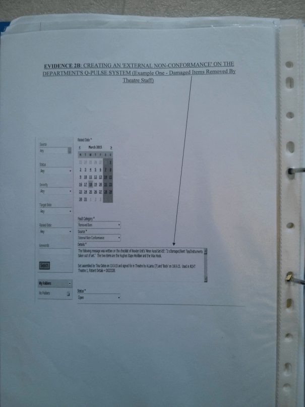 An image of the first page of 'Evidence 2B' submitted as part of Chris Larham's work for BTEC Unit Two [2015].
