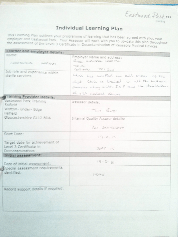 An image of the first page of the Individual Learning Plan pertaining to Chris Larham's 'BTEC Level Three Certificate in Decontamination of Reusable Medical Devices' [2015].