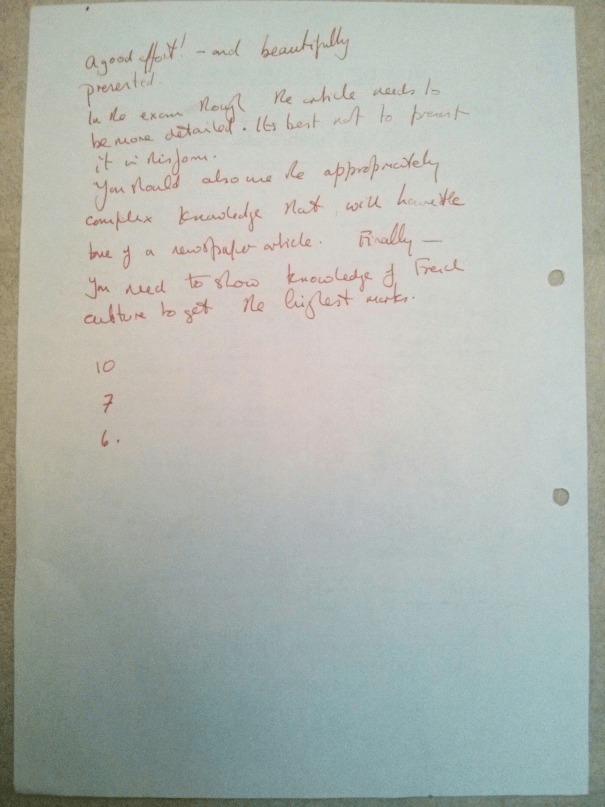 An image of the second page of Chris Larham's piece of French A Level creative writing on the subject of a Waste Recycling Centre at Verneuil-sur-Avre [23 out of 45, 2001/2002].
