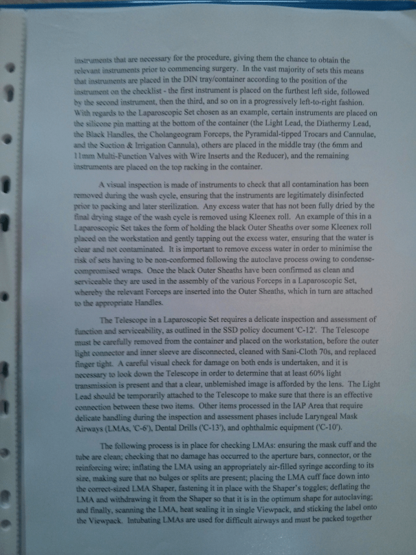 An image of the third page of the original work submitted for BTEC Unit Four [2015].