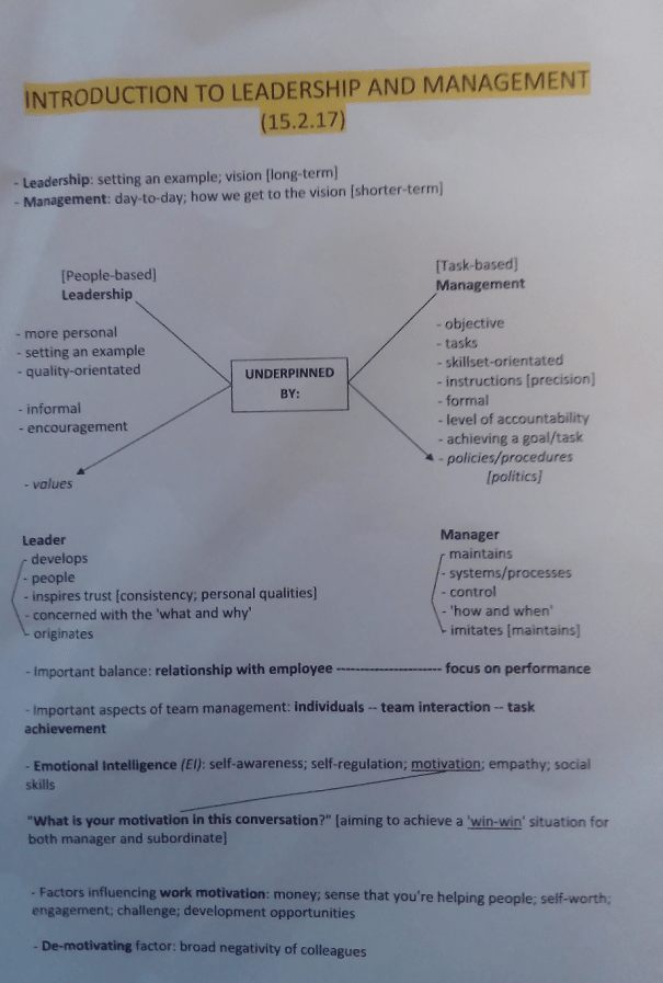 Image of the first page of notes typed up by Chris Larham after attending a session entitled 'Introduction to Leadership and Management' on 15.2.17.