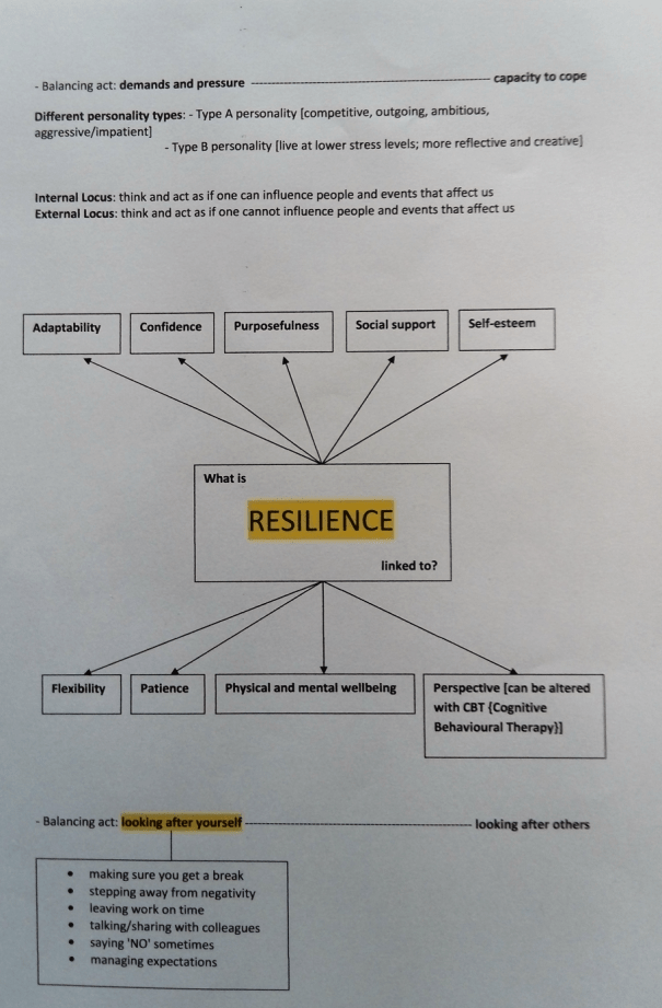 Image of the fourth page of Chris Larham's word processed notes, typed up after attending a session entitled 'Managing Sickness and Other Absences in the Workplace' on 31.1.17.