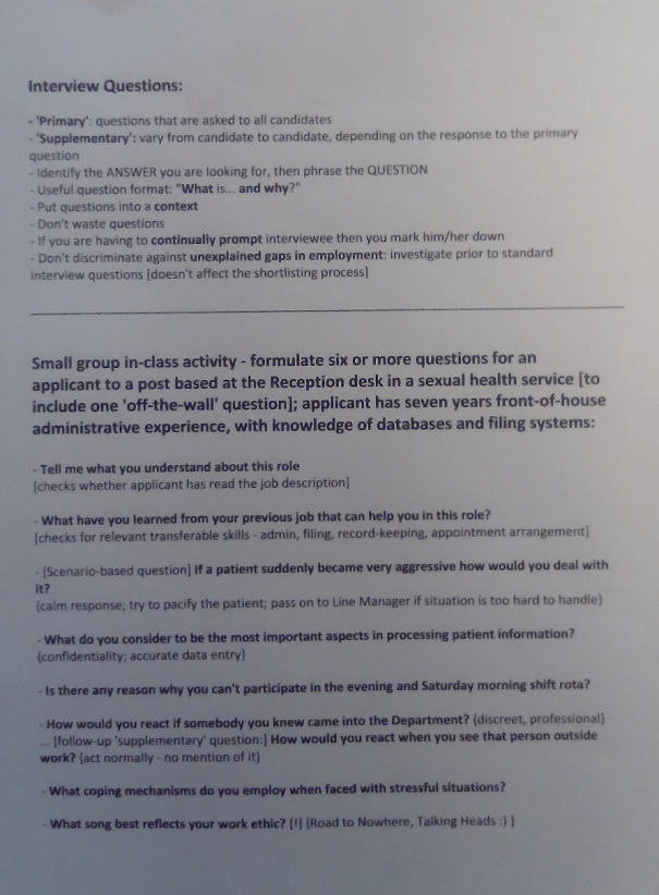 Image of the third page of the notes typed up by Chris Larham after attending a session entitled 'Values-based Recruitment and Selection' on 14.2.17.