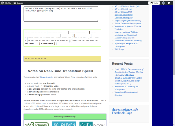 Screenshot of the sharedsapience.info Morse Code Translator in action