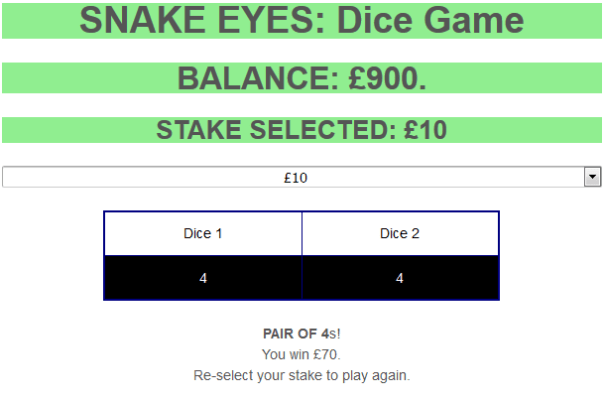 'Snake Eyes' dice game in action.