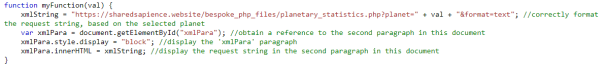 The JavaScript function that is triggered by the user's selection of a planet.