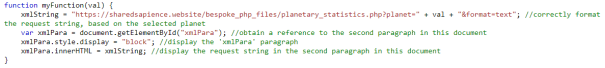 Function that is triggered by the user's selection of a planet.