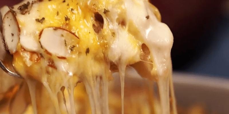 치즈가 쭈욱쭈욱! 불 없이 만드는 치즈고구마그라탕