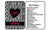 Sports Club Bag Tags Tennis Zebra Print