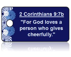 2 Corinthians 9:7b Bible Scripture Key Tags