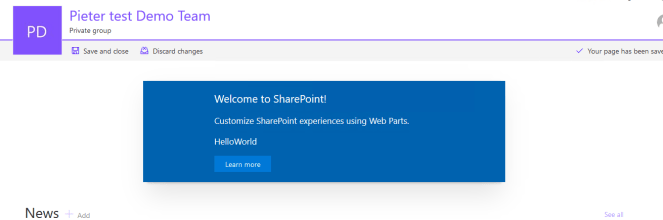 Office 365 - SharePoint - Create a Client Side Web Part using SPFx and CDN Microsoft Office 365, Microsoft SharePoint, SPFx or SharePoint Framework webpartonpagemodern