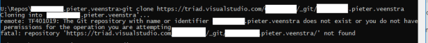 Visual Studio - Git failed with a fatal error: repository 'xyz' not found 1