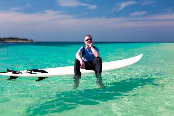Getting wet feet on surf board