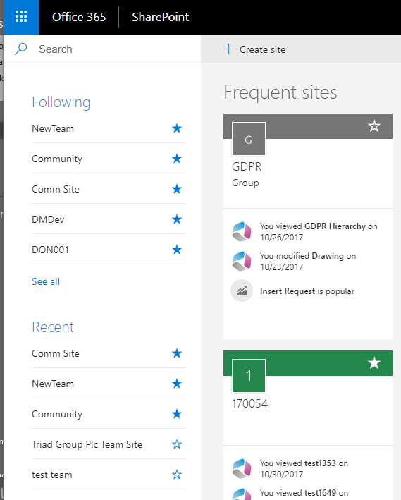 Office 365 - Create a new SharePoint Online team site and  .... I'm lost in a black hole! 7