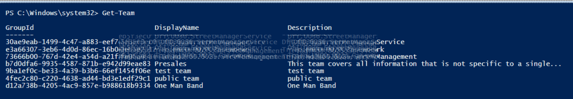 Get-Team PowerShell