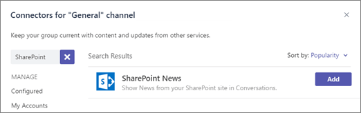 Microsoft Teams - SharePoint News connector 3