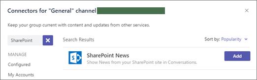 Microsoft Teams - SharePoint News connector Microsoft 365