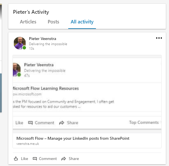 Microsoft Flow - Manage your LinkedIn posts from SharePoint 6
