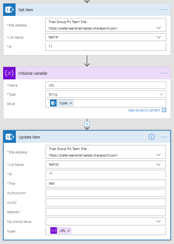 Update Hyperlink or Picture fields using Microsoft Flow 1