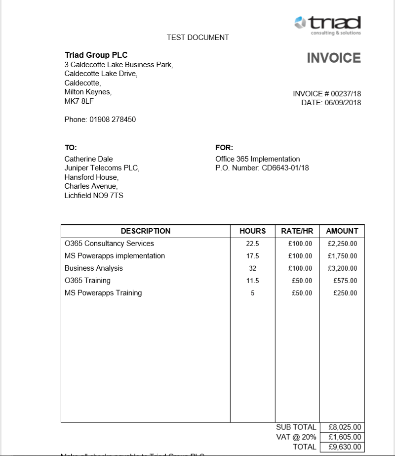 An example invoice