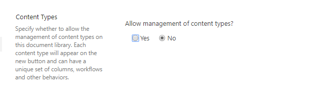 Allow management of content types set to No