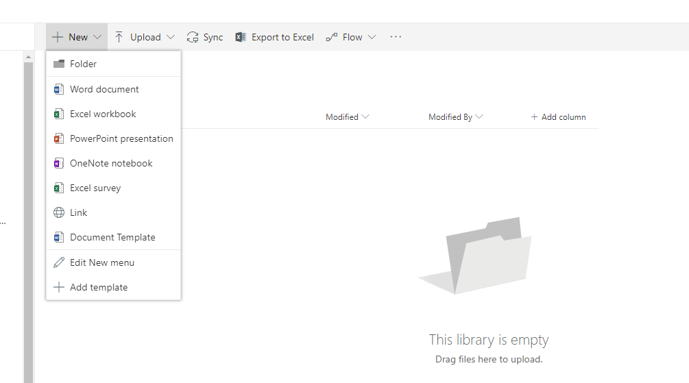 Edit new Menu with document formats