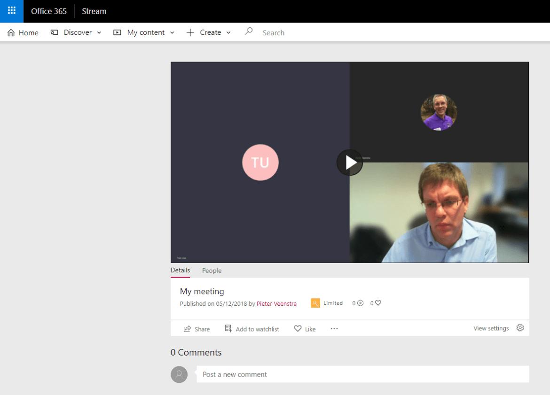 My meeting recording in Stream