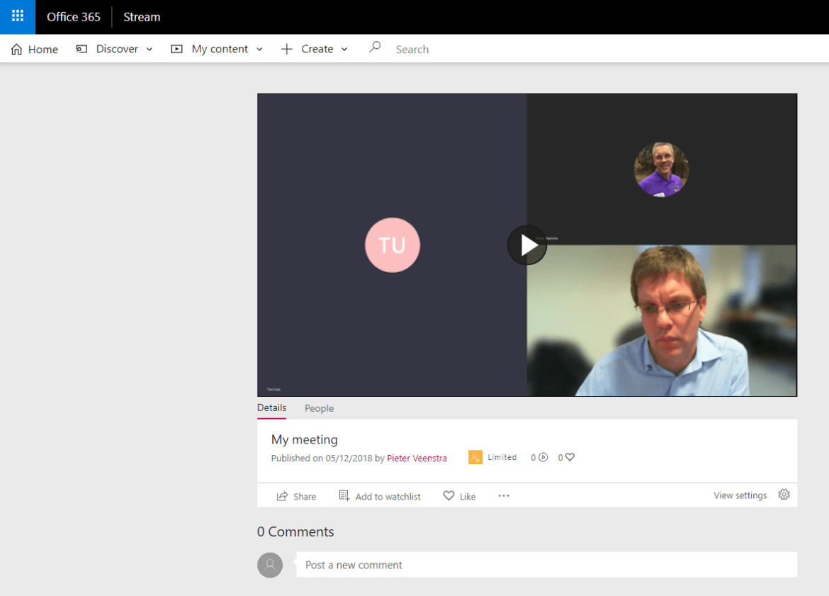 My meeting recording in Stream